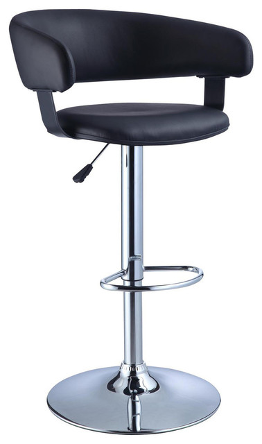 Fantastic Black Faux Leather Barrel Chrome Adjustable Height Bar Stool Uwap Interior Chair Design Uwaporg