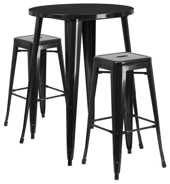 Fabulous Brimmes 3 Piece Table Set Round 30 Black With 2 Square Seat Backless Stools Customarchery Wood Chair Design Ideas Customarcherynet