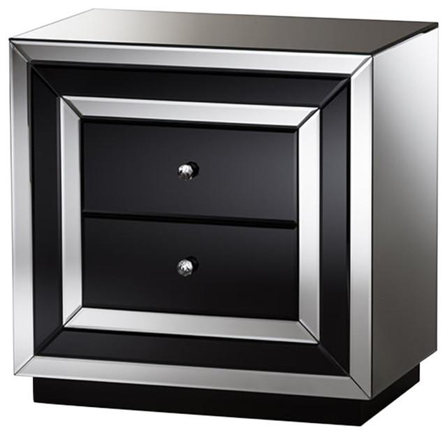 Cecilia Glamour Style Mirrored Nightstand, Black, Silver Mirrored