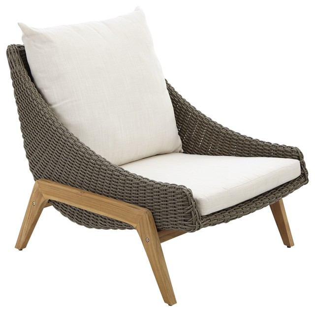 Retro Rattan Effect Coffee Chair Contemporary Garden Lounge Chairs