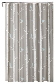 Birds On The Tree Shower Curtain Gray Blue 72 Quot X72 Quot Contemporary Shower Curtains By Lush Decor
