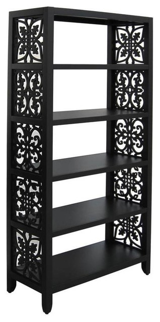 5-Shelf Bookcase, Black Finish.