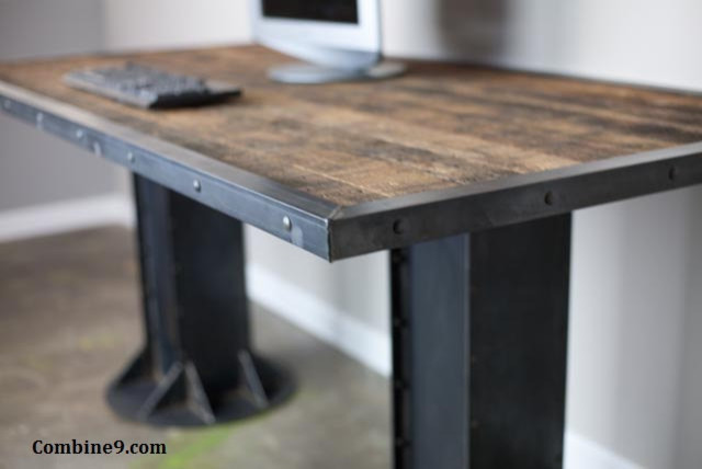 Modern Industrial Desk Table Steel I Beam Urban Loft