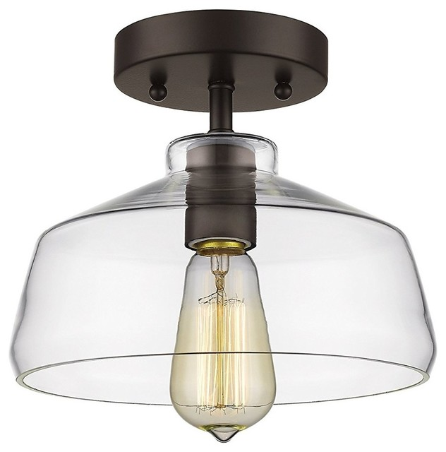Industrial Ceiling Fixture Clear Glass Shade Ceiling Light, Oil Rubbed Bronze.