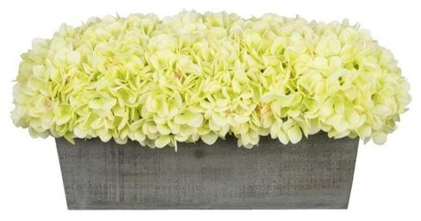Artificial Green Hydrangea In Grey Washed Wood Ledge Contemporary Artificial Flower Arrangements By House Of Silk Flowers Inc
