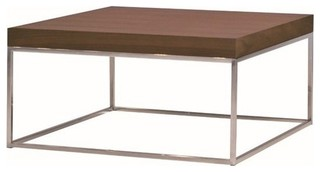 Mobital Kubo Square Coffee Table, Natural Walnut