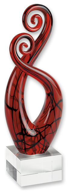 Modern red and black accent vase
