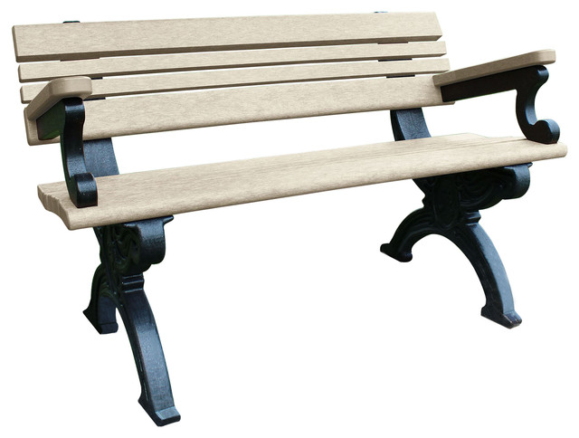 Bench Hartford W Back With Armrests 4 Decorative Black Legs Traditional Outdoor Benches By American Recycled Plastic