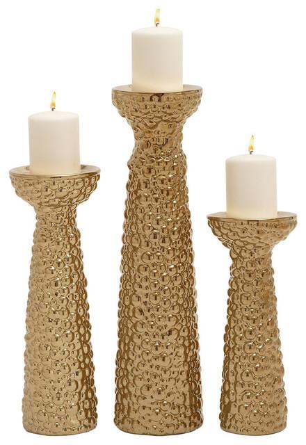 ceramic candle holder gold 3piece set