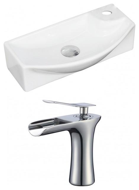 Rectangle Vessel Set, White, Single Hole Cupc Faucet, 18x9, Faucet 6.