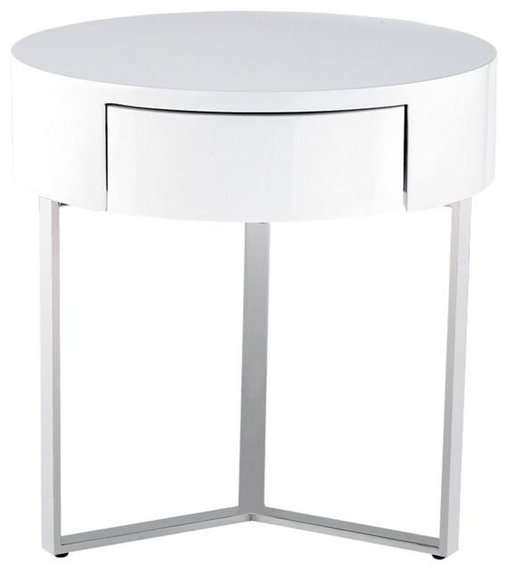 Elegant Temptation White 1 Drawer Round Nightstand