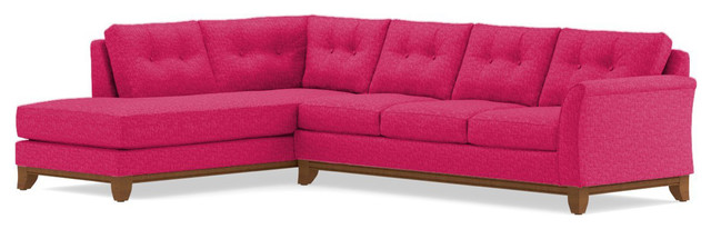 Marco 2-Piece Sectional Sofa, Pink Lemonade, Chaise on Left
