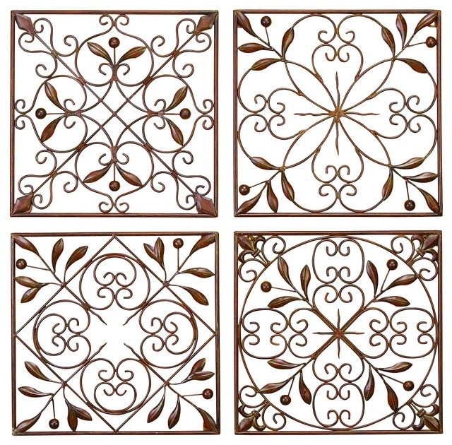 Metal Wall Decor Set Of 4 A Low Priced Wall Decor - Traditional ...