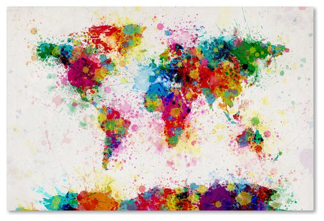 &x27;paint Splashes World Map&x27; Canvas Art By Michael Tompsett.