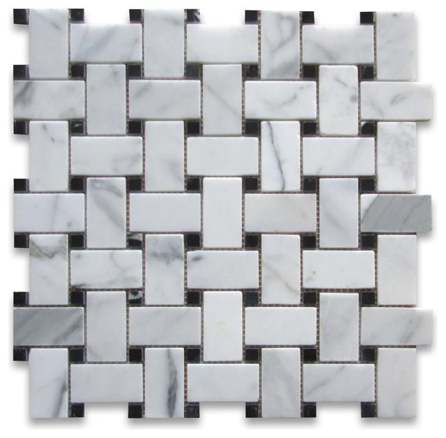 12 Quot X12 Quot Calacatta Gold Basketweave Mosaic Black Dots
