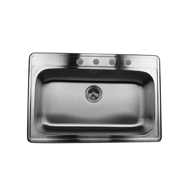 rectangular kitchen sink 33 quot large rectangle single bowl stainless steel drop in 1753