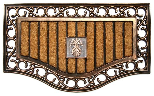 elegant rubber and coir doormat - contemporary - doormats -a1