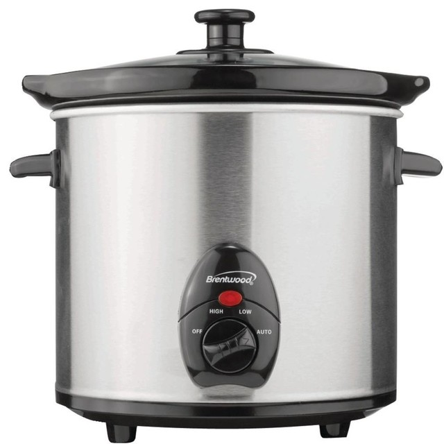 Brentwood 3-Quart Slow Cooker, Stainless Steel.