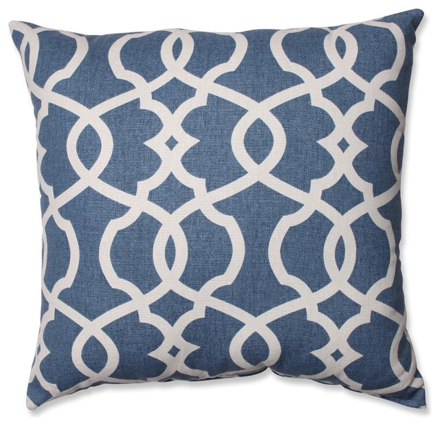 "Lattice Damask Blue 18"" Throw Pillow, Blue."