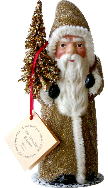 Schaller Paper Mache Candy Container Santa With Gold Coat And Tree Traditional Holiday Accents And Figurines By Alexander Taron