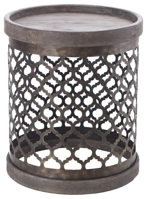 Quatrefoil Metal Drum Table, Gray.