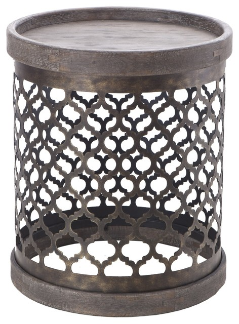 Quatrefoil Metal Drum Table, Gray Mediterranean Side Tables And End