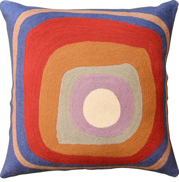 "Kandinsky Ruby Square Medium Blue Iv Throw Pillow Cover Handmade Wool 18""x18""."