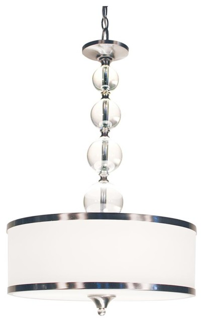 Three Light Brushed Nickel White Glass Drum Shade Pendant