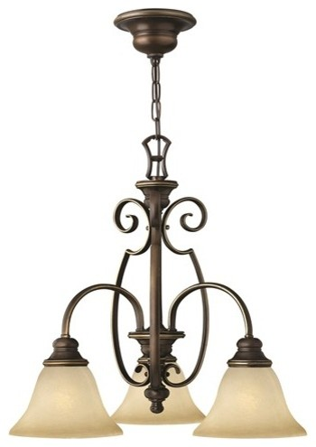 Traditional 3-Arm Chandelier, Scrolls and Alabaster Glass
