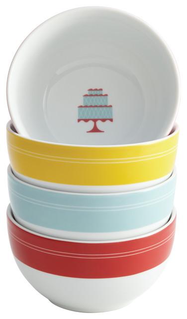 Cake Boss 4-Piece Porcelain Ice Cream Bowl Set,