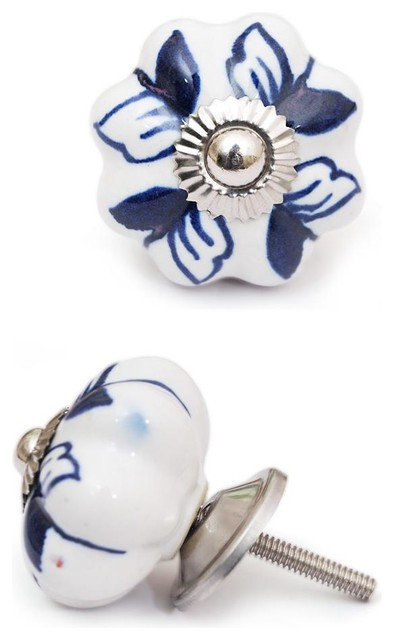 Ceramic Knobs, Blue And White, Set of 2 - Cabinet And Drawer Knobs - by Knobco
