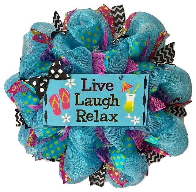 Live Laugh Relax Handmade Deco Mesh Summer Wreath.