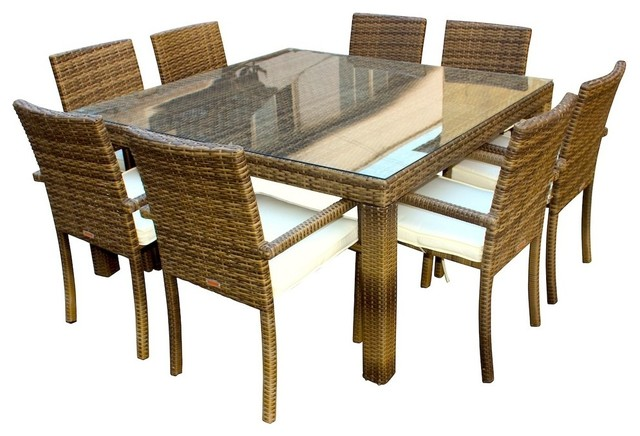 Outdoor Patio Wicker Furniture Resin 9 Piece Square Dining Table And Chairs Set