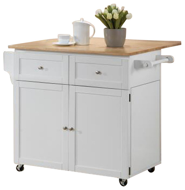 Exceptionnel Kitchen Cart 2 Door Storage With 2 Drawers And Hidden Cabinet, White Finish
