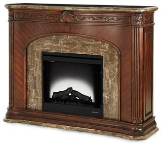 Aico Michael Amini Aico Michael Amini Villagio Marble Top Fireplace W Electric Insert