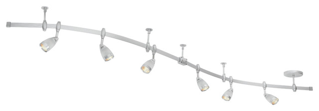 Flexigon 6 Light Brushed Steel Flexible Track Lighting