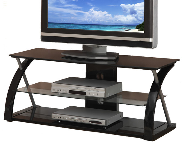 Superbe Black Glass Metal Dynamic Entertainment Center, TV Stand