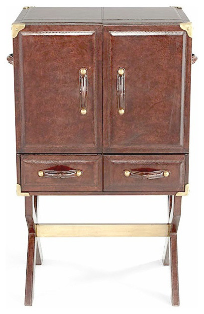Shop Houzz | Cyan Leather and Brass Bar Cabinet - Wine And Bar Cabinets