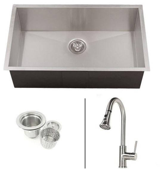 Ariel Undermount Kitchen Sink and Faucet, 32