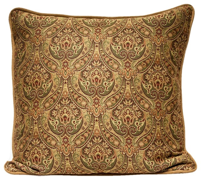 Designer Throw Pillow Cover Gold Red And Green Mediterranean Decorative Pillows By Studio