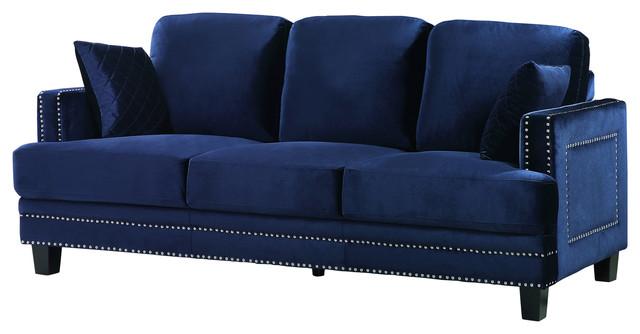 Ferrara Remy Velvet Sofa, Navy.