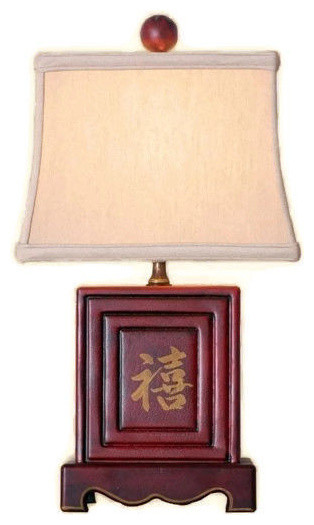 """Chinese Red Lacquer Box Table Lamp, Shade and Finial 15"""""""