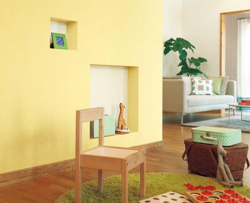 黄色の壁紙をポイントで使った施工事例