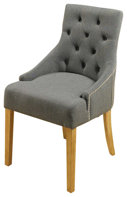 Accent Upholstered Oak Dining Chairs, Slate Fabric, Set of 2