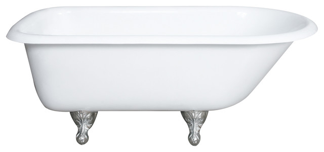"""55"""" Cast Iron Rolled Rim Tub Without Faucet Holes, Brushed Nickel Feet."""