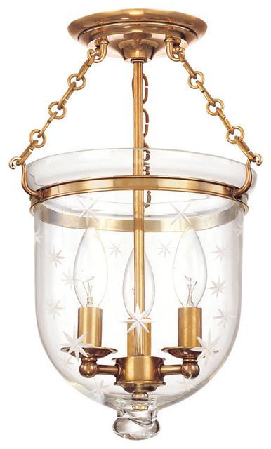 Hampton, 15 Semi Flush, Aged Brass Finish, Clear Star Cut Glass Shade.
