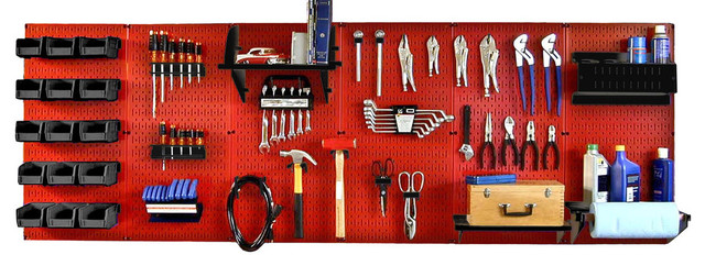 Pegboard Organizer Workbench Kit, Red Toolboard and Black Pegboard Hooks - Contemporary - Garage ...