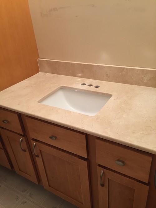Vanity Side Splash : Three wall vanity back side splashes