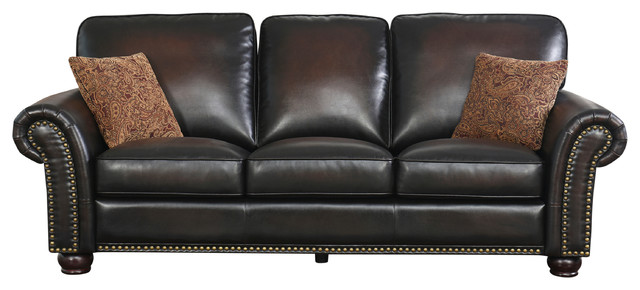 Harrigan Hand Rubbed Brown Leather Sofa.