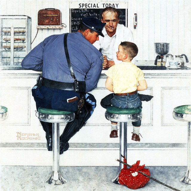 """""""runaway"""" Painting Print On Canvas By Norman Rockwell."""